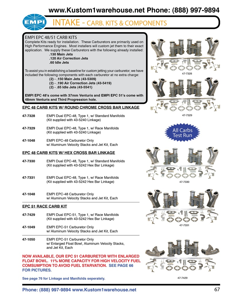 Empi Weber IDA EPC 48 and 51 mm carburetor kits with linkage and manifolds for VW Volkswagen ...