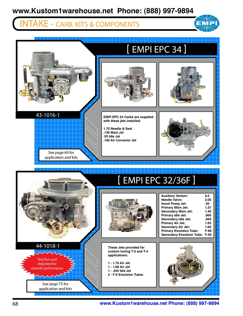 Empi Dual 34mm Epc Ict And 32 36f Single Progressive