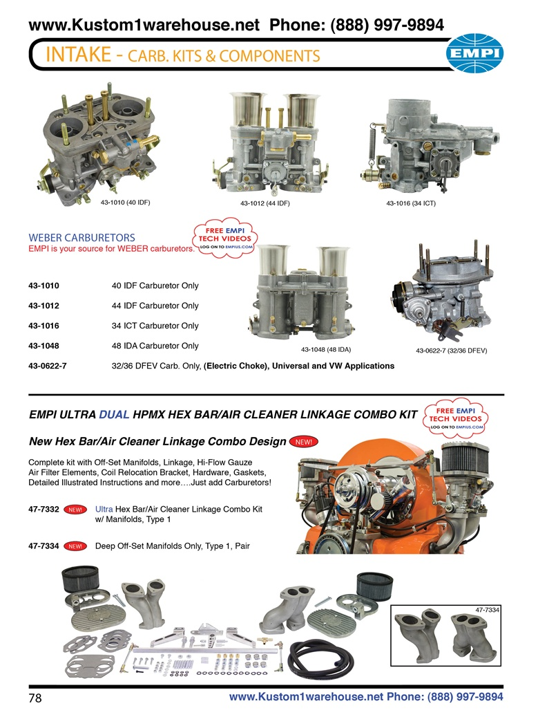 Weber carburetors, 48mm, 40mm, 34mm, 44mm, 32/36 DEFV progressive, Empi ultra hpmx linkage and ...